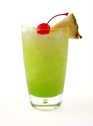MELON BALL - 1 oz. Vodka, 1 oz. Midori, Orange Juice, Maraschino Cherry.   Pour vodka into a collins glass filled with ice, fill almost with orange juice, float midori and stir gently. Garnish with the maraschino cherry.