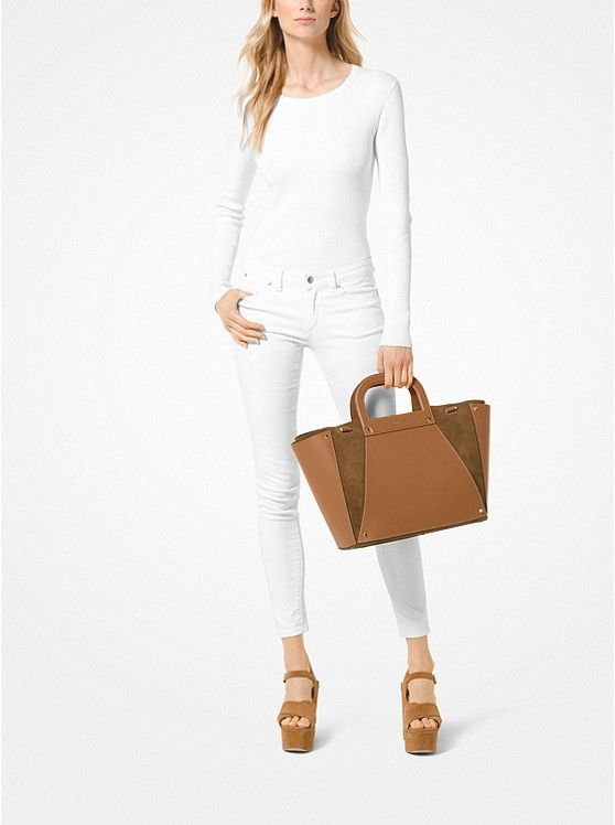 3eb459167e13 Clara Extra-Large Leather and Suede Tote $328 | Elevated: Arm Candy ...