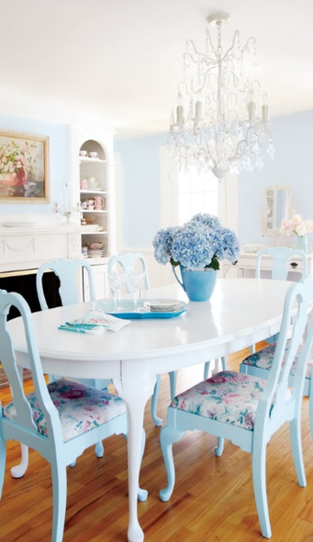 This has a cottage feel with a twist of luxury. Painted table and chair