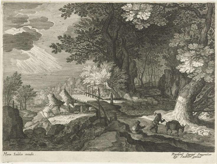 Houten brug in een boslandschap, Aegidius Sadeler, 1580 - ca. 1629