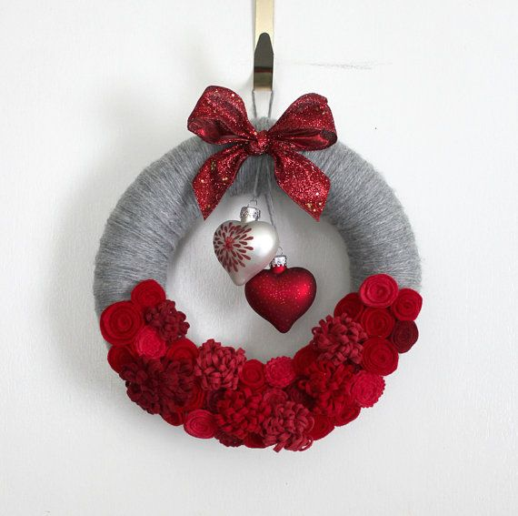 Hearts Wreath, Red and Gray Valentine Wreath, Love Wreath, Small 10 inch size, Red and Gray Wreath - Ready to Ship