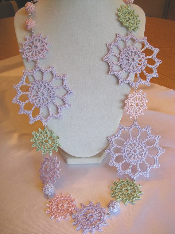 Spring Drama Crochet Motif Necklace in Pastels, 27 to 40 Inches