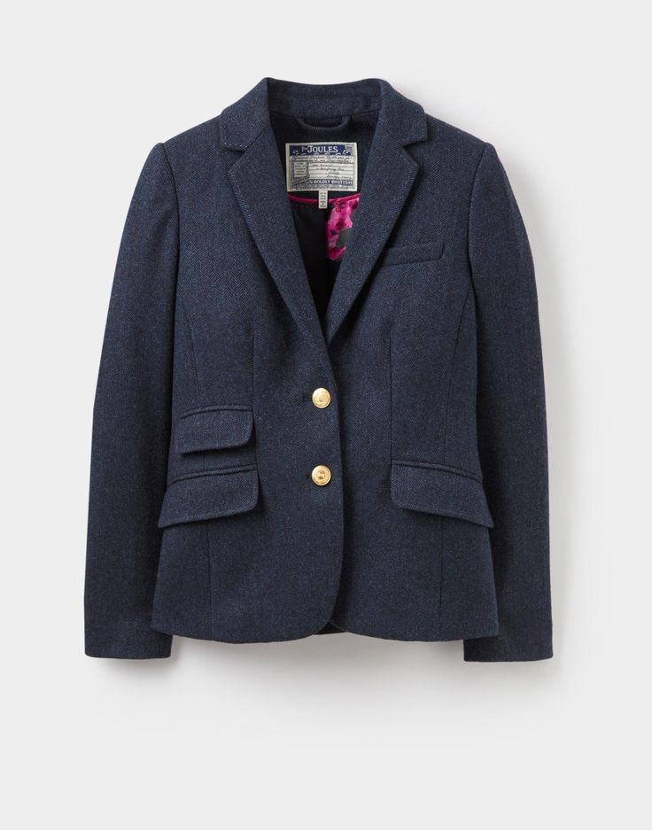 Aster Navy Tweed Tweed Jacket | Joules UK