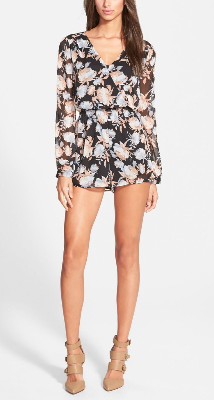 This long sleeve chiffon floral romper looks cute on it's own or paired with a blazer.