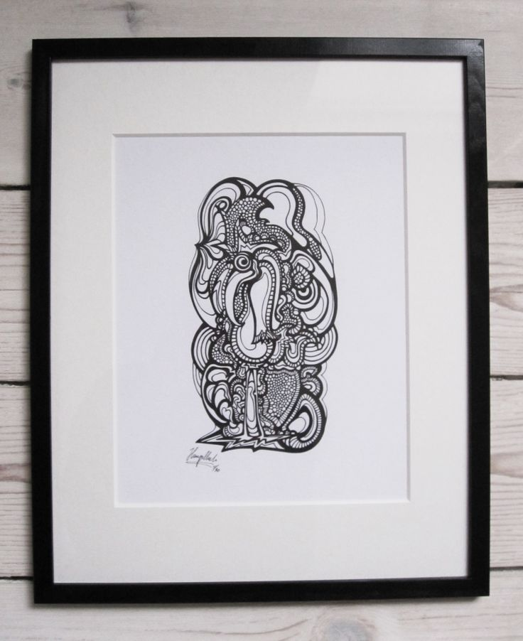 """""""Stork"""" by hurupmunch Printed illustration on akvarel paper A4: Dkk 150,- Printed illustration in passepartout and painted wood frame: Dkk 350,-"""