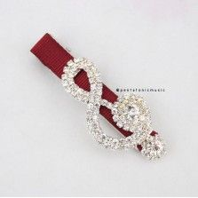 Bling Treble Hair Clip - Red