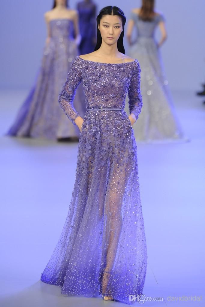 Wholesale Bridesmaid Dresses - Buy 2014 Elie Saab Crystal Bead Sequins Sheer Long Sleeve A-Line Long Formal Evening Dresses With Sash Sexy Party Prom Dress Gowns Lavender, $158.27 | DHgate