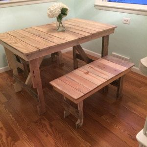 5' Dining Table & 2-Bench Set Reclaimed Wood by SereneVillage