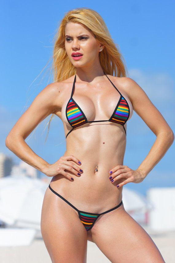 Retro Multicolor Stripes Sexy Micro G String Bikini 2Pc -1898