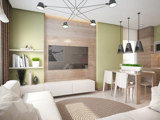 Wohntrends 2016 Wohnzimmer Holzwand Hellgruene Wandfarbe Weisse Moebel Schwarze