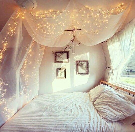 So cute! Fairy lights bedroom
