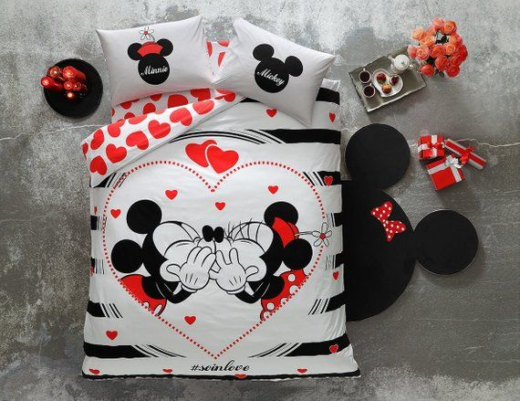 100 Cotton Duvet Cover Glow In The Dark Disney Minnie Mickey Mouse Tac Mickey Mouse Bedding Disney Decor Bedroom Disney Home Decor
