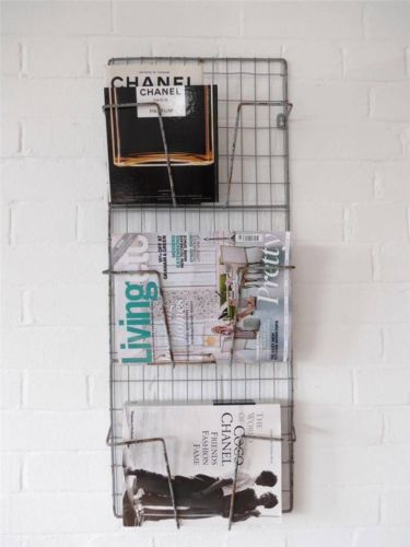 Magazine Rack Metal Wire Wall Rack Shelf Industrial Grey Newspaper Letter Rack