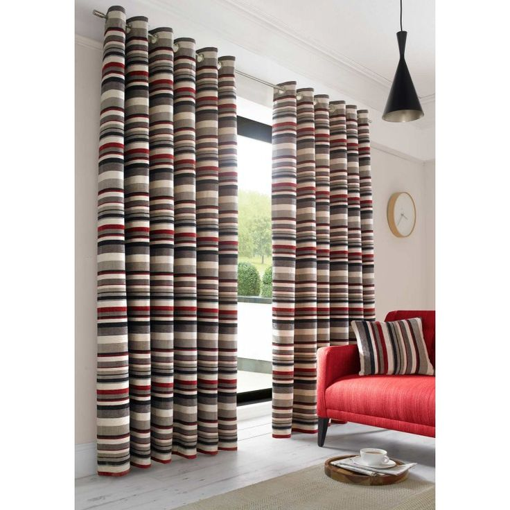Richmond Red Lined Curtains Stripe Ready Made Eyelet Curtain Pairs X