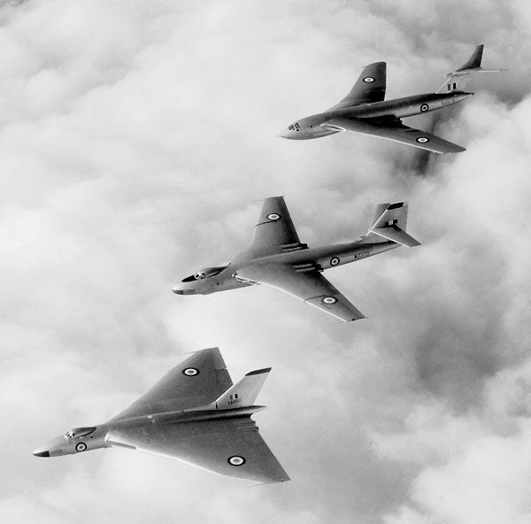 The Vickers Valiant was the first of the V-bombers to enter RAF service in 1955, followed by the Avro Vulcan in 1956 & the Handley-Page Victor in 1957.