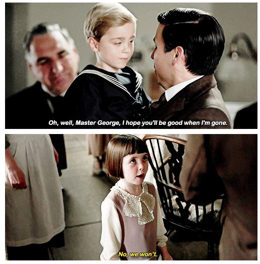 I just had the realization that (spoiler alert) after Thomas returns to Downton, he's going to be just as fond of George and Sybbie all their lives as Carson was of Lady Mary. And it made my heart happy that they love him as much as the girls loved Carson.