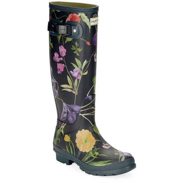Hunter Royal Horticulture Tall Boots ($175) ❤ liked on Polyvore featuring shoes, boots, black, black rubber boots, black boots, wellies boots, block heel boots and wellington boots