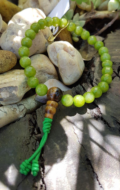 Mala de Mão Jade Facetado com Olho de Tigre 27 contas 6 mm- Rosário Budista