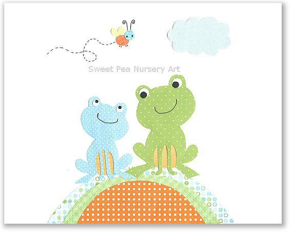 I love this art work! Frog Nursery Art, Blue and Green Nursery, Boy Nursery, Orange, 8 x 10 Print, Cute Nursery Art