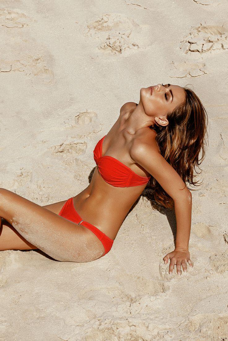 Melissa Odabash - 2016 Collection - The Martinique bandeau bikini in Red. #MelissaOdabash