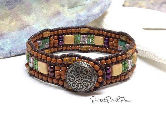 Southwestern Beaded Leather Cuff Bracelet  Western Chic BY SUNSET SOUTHPAW #fashion #style #gifts #bracelet #boho #beadedcuffbracelet  #handmade #jewelry #etsy #southwestern #beading #etsyseller #sunsetsouthpaw