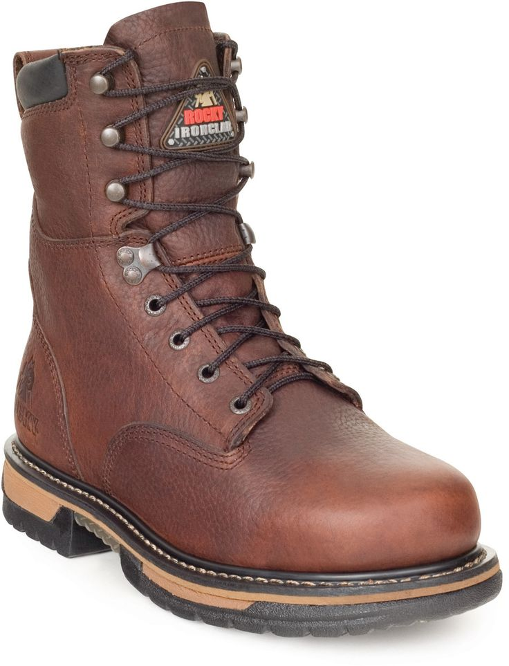 "Rocky Ironclad Mens Brown Leather 8"""" Steel Toe Waterproof Work Boots"