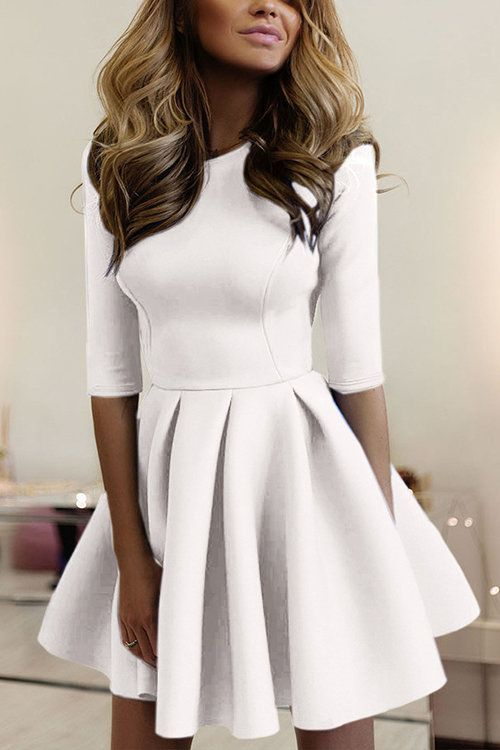 Casual Round Neck Mini Dress in White - US$21.95 -YOINS