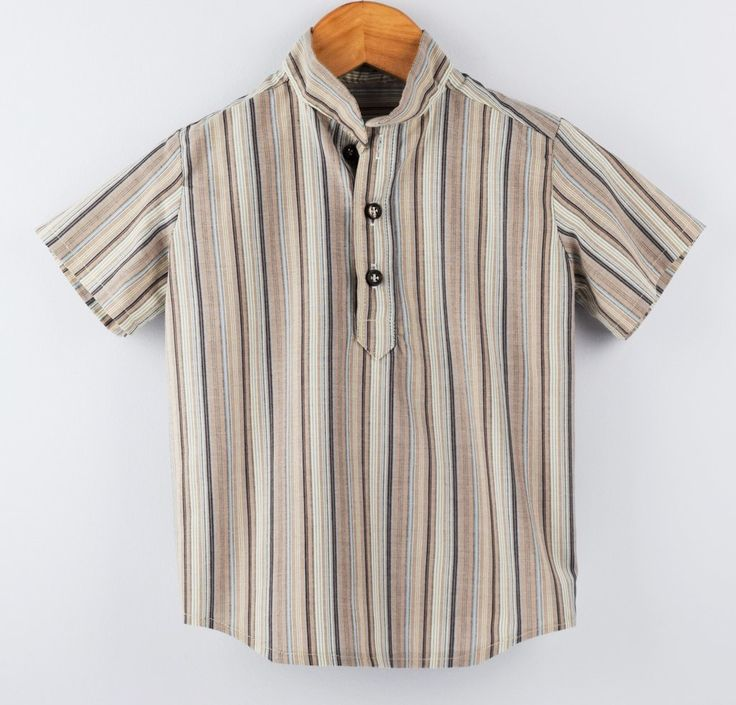 Handmade toddler and boys button up shirt. Gorgeous soft cotton with 3 buttons and grandpa collar.