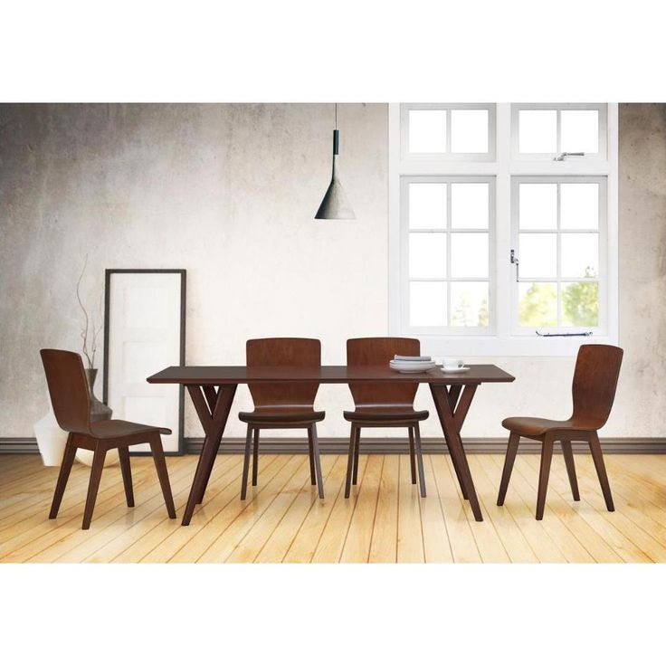 Simplicity And Clean Lines, This Elsa Mid Century Modern Scandinavian Style  Dark Walnut Bent Wood Dining Set Is Perfect For Your Retro Dining Room.