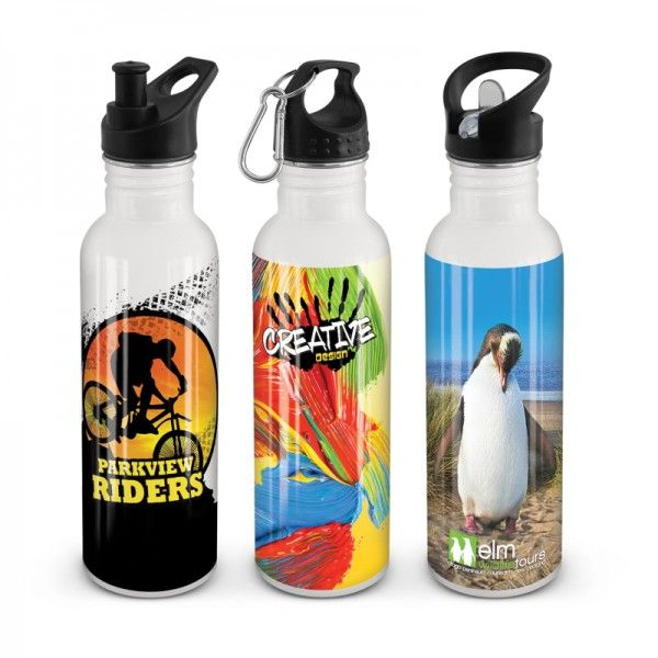 NOMAD DRINK BOTTLE – FULL COLOUR  750ml food grade stainless steel drink bottle which is BPA free and has a choice of three different lid styles. It is designed specifically for stunning, dishwasher safe, full colour wrap around branding.