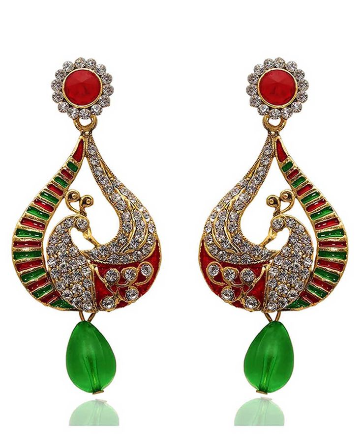 Best for wedding & engagement, Kriaa Austrian Stone Green And Red Meenakari Peacock Design Drop Gold Plated Dangle Earrings @ Rs. 395/- Buy now at http://www.jewelmaze.in/product/AAA0239/Earrings/Kriaa-Austrian-Stone-Green-And-Red-Meenakari-Peacock-Design/?pd=EGH#.VtbEFn197IV