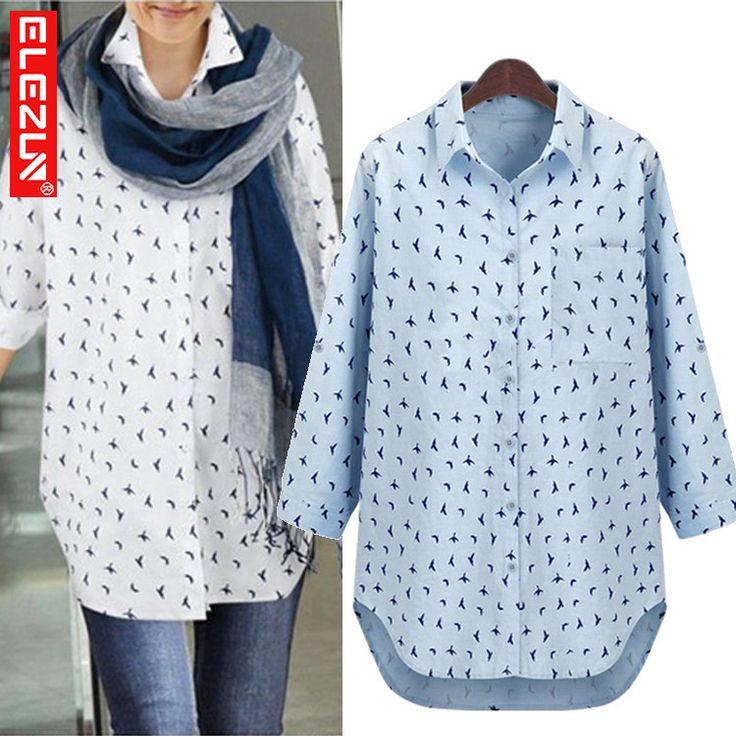 Большой размер XL-5XL бесплатная доставка 2014 осень морская птица печатных свободного покроя blusas женская BF стиль рубашка camisas femininas blusas femininas