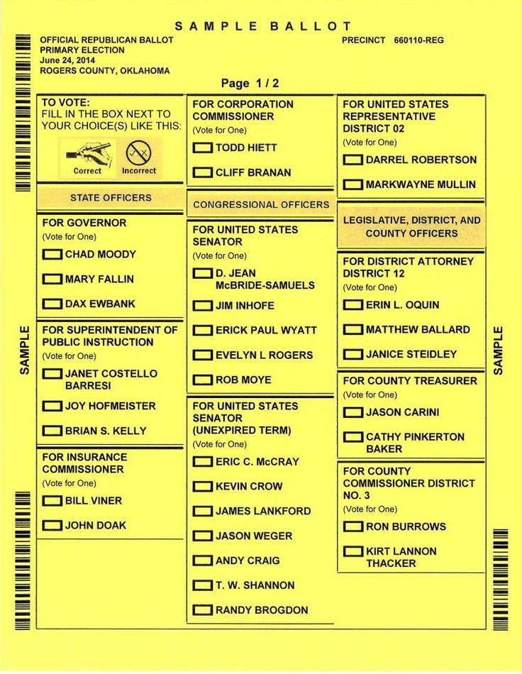 Sample ballot - Republican primary - Rogers County, Oklahoma - 2014