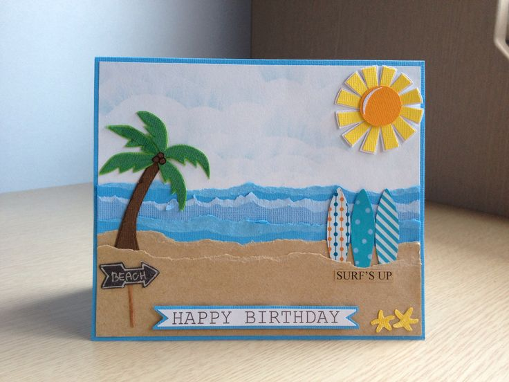 Surf theme birthday card