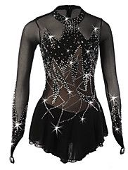 Figure+Skating+Dress+Women's+Girls'+Ice+Skating+Dress+Black+Spandex+Rhinestone+Sequined+High+Elasticity+Performance+Skating+Wear+Handmade+–+USD+$+301.98