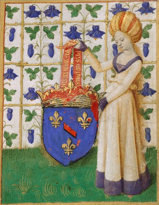 Female Heraldic Figure Holding Escutcheon (f°1) -- «Simon de Varie's book of hours», French, Tours, 1455 [MS. 7], illustrations by Jean Fouquet. -- The shield was overpainted in the 1600s with the arms of the Bourbon-Condé family but originally held Varie's arms. The banner supporting the shield displays Varie's motto: Plus que jamais (More than ever) and Vie à mon desir (Life according to one's desire).