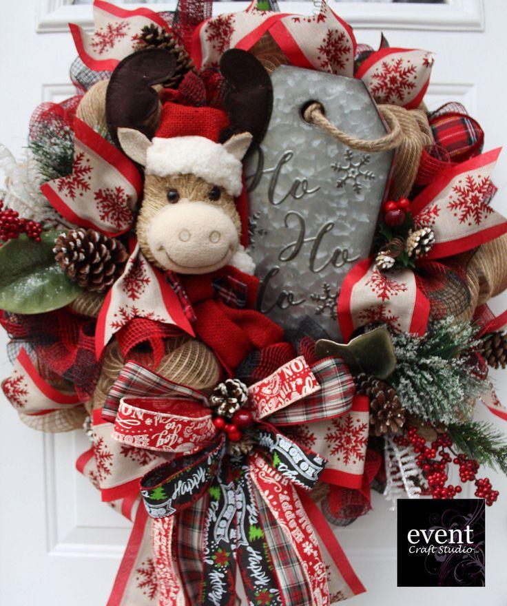 Farmhouse Reindeer Christmas Evergreen Wreath for Front