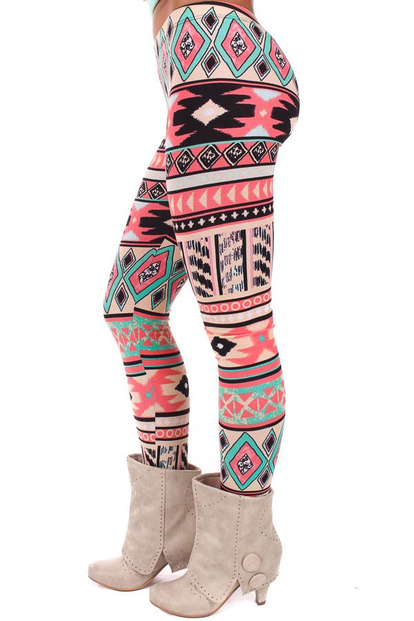 Lime Lush Boutique - Cream and Coral Bright Printed Leggings, $29.99 (http://www.limelush.com/cream-and-coral-bright-printed-leggings/)