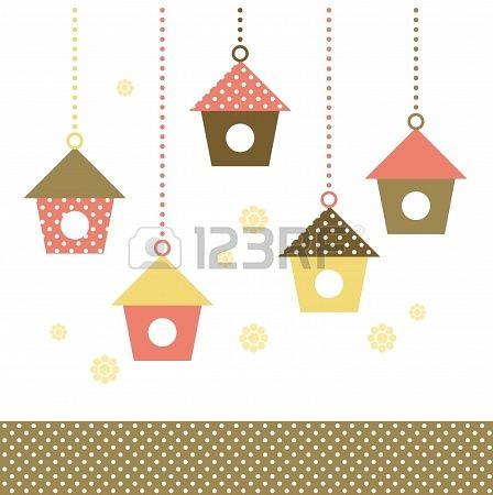 Cute spring colorful Bird houses set   vector