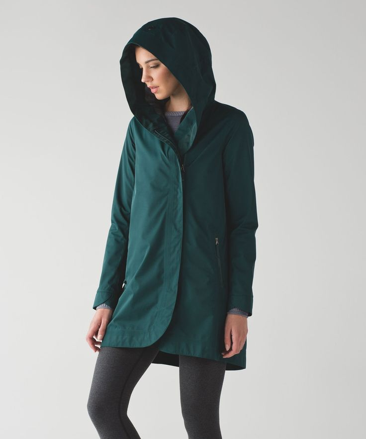 Leave your purse and umbrella at home–this waterproof rain jacket was designed with plenty of interior storage to stash your essentials. A cinched hood lets you adjust the fit and helps keep the moisture out when you're going to and from your sweat session.