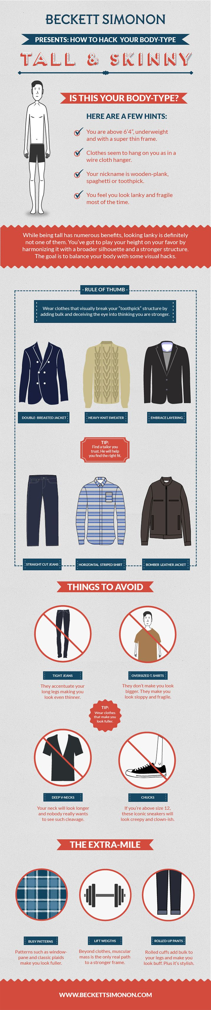 If your Body Type is Tall & Skinny, this infographic is for you. | Follow rickysturn/mens-fashion