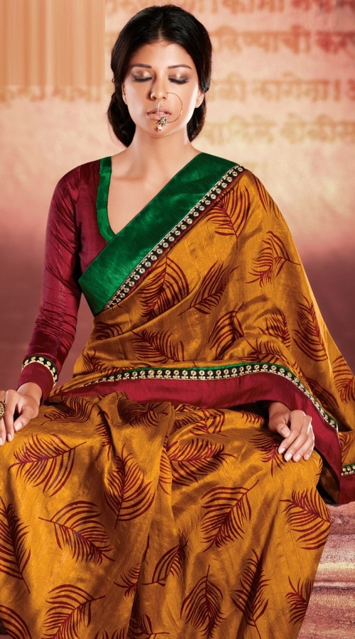 RB223179 Golden Rust Cotton Silk Printed Saree - IndiaBazaarOnline Shopping Store - Shop with confidence