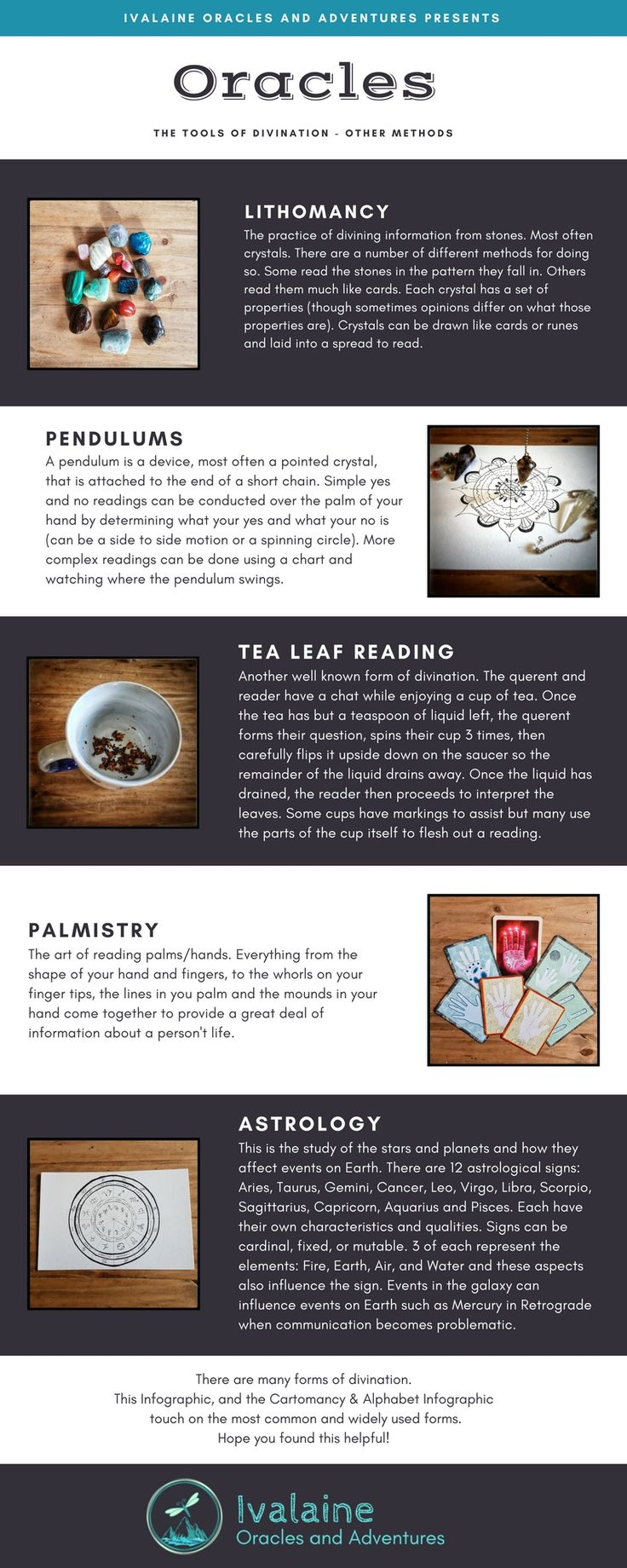 This Oracle Infographic - Part 2 gives a basic rundown of what the most common oracles are outside the scope of cartomancy and alphabets.