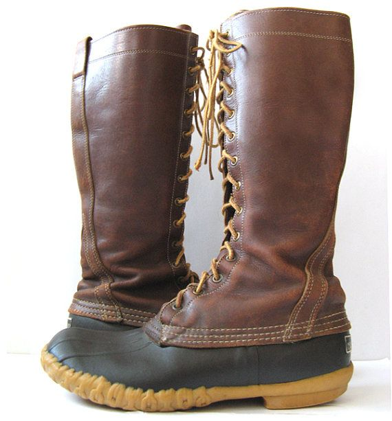 L.L. BEAN Vintage Brown Leather Tall 16 Boots by BohoHippieShop
