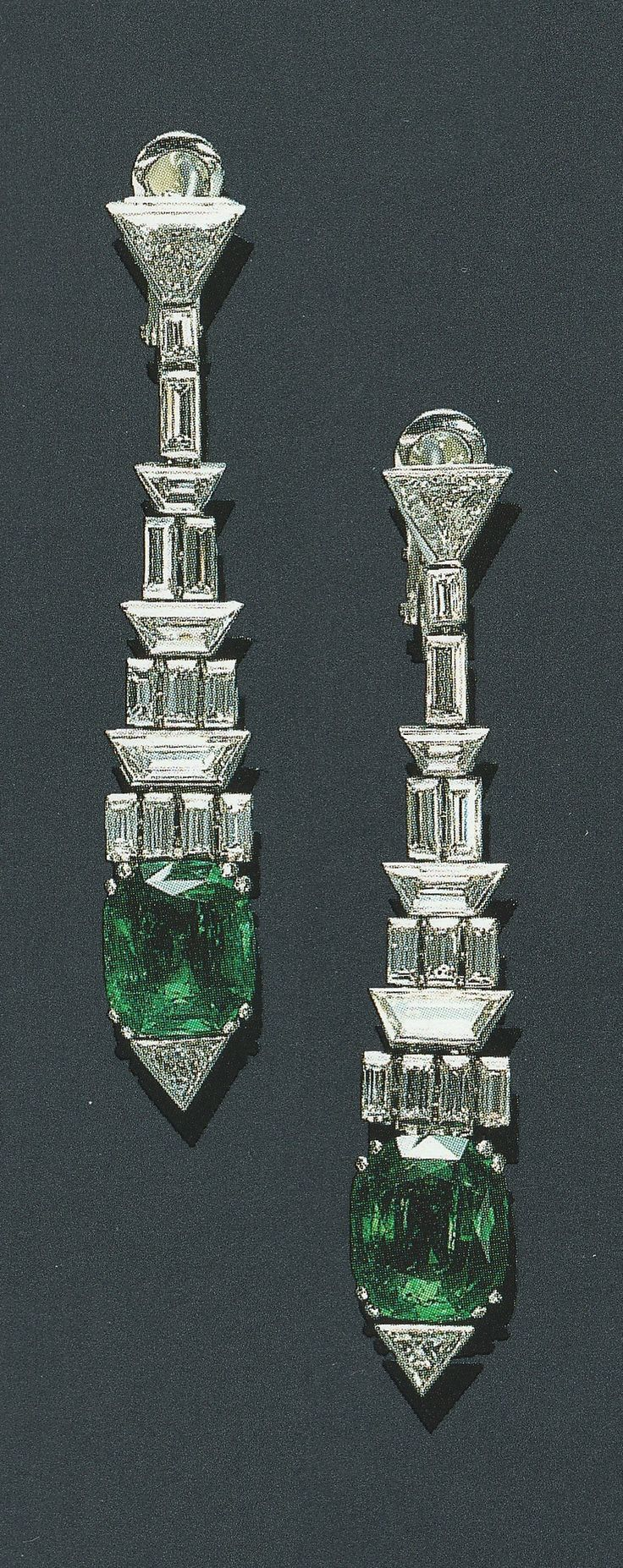 Cartier - An elegant pair of Art Deco emerald and diamond ear pendants, circa 1930. Each set with a modified cushion-cut emerald, accented by a triangular-cut diamond terminal, joined by graduating baguette and trapeze-cut diamond articulated links to a triangular-cut diamond, mounted in platinum. Source: Christie's, Magnificent Jewels, NY, April 2000.