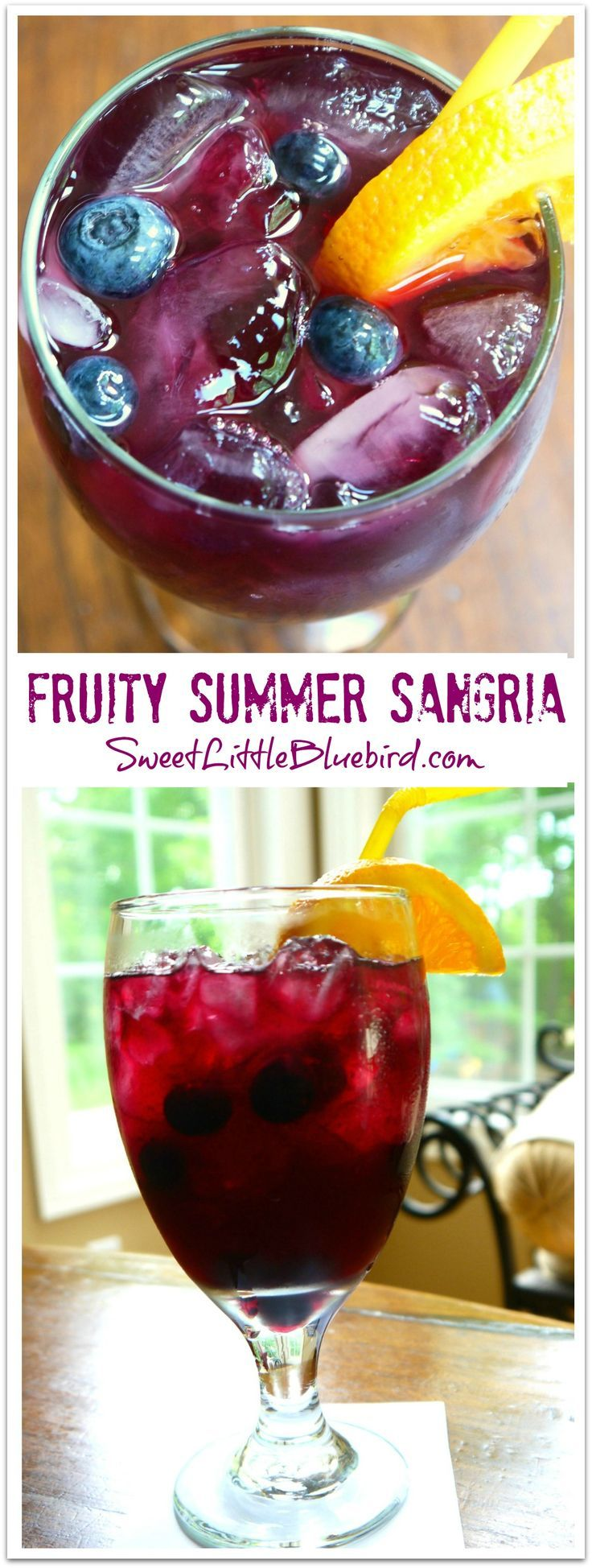 FRUITY SUMMER SANGRIA -  Summer in a glass!  Perfect for outdoor parties and get-togethers, always a hit!      SweetLittleBluebird.com