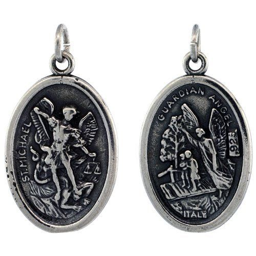 Sterling Silver Saint Michael The Archangel Oval-shaped Medal Pendant, 7/8 inch (23 mm) tall Sabrina Silver. $36.48