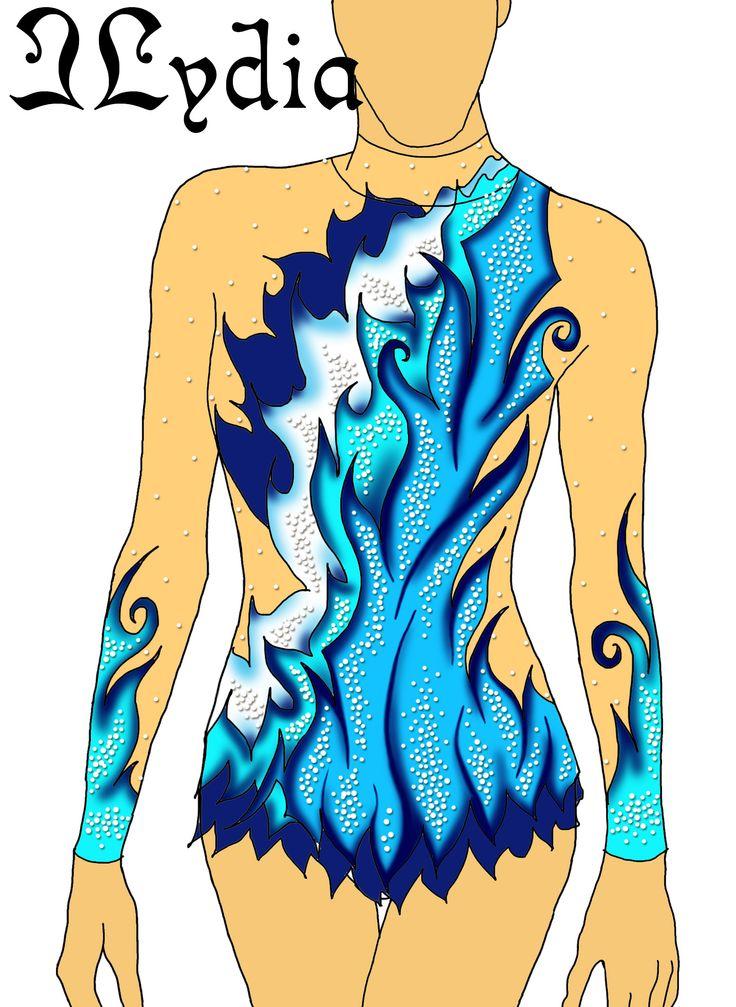 Competition Rhythmic gymnastic leotard design Water