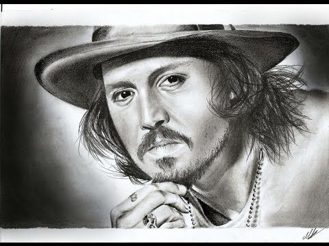 Johnny Depp speed drawing ( A for Art ) - YouTube