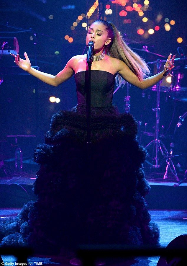 Ariana Grande is glamorous in pretty black gown with flowing tulle train at Time 100 | Daily Mail Online